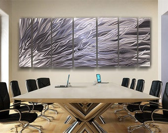Large Modern Silver Metal Abstract Wall Contemporary Art -  Fury XL  by Jon Allen