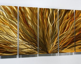 Gold Abstract Metal Wall Art - Metal Painting - Dynamic Home Decor - Beautiful Gold Artwork -  Amber Plumage by Jon Allen