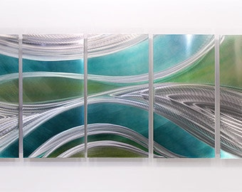 Teal Blue Silver Abstract Metal Wall Art - Metal Painting - Contemporary Home Decor - Modern Accent Artwork - Mystic by Jon Allen