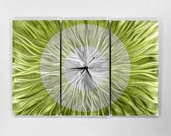 Green Modern Metal Wall Clock - Abstract Functional Art - Metal Clock Sculpture - Hanging Timepiece - Timekeeper - Go Green by Jon Allen