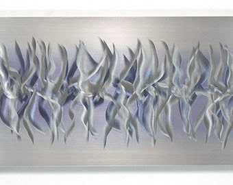 all natural silver modern metal wall art etched metallic abstract wall sculpture reflective unique