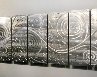 Silver Modern Metal Wall Sculpture - Contemporary Metal Wall Art - Home Decor - Wall Accent - Freedom Fills the Air XL by Jon Allen