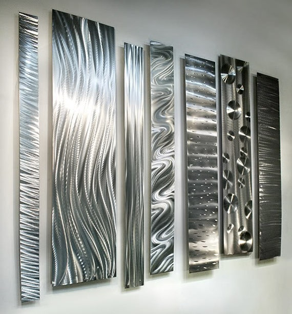 silver modern metal wall accent etched designs abstract metal art