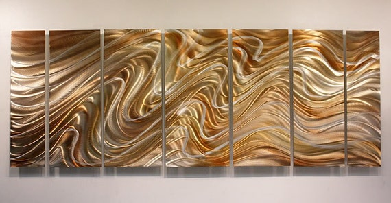 Copper silver abstract metal wall art large handmade metal for Copper wall art