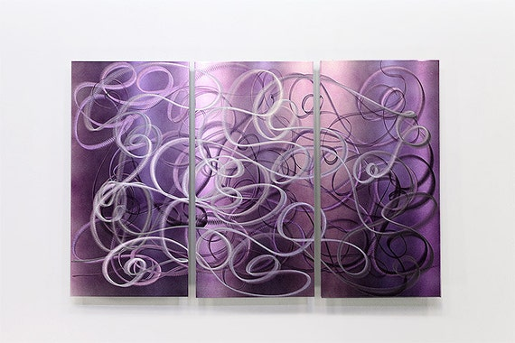 Purple Abstract Metal Wall Art Modern Metal Painting Home