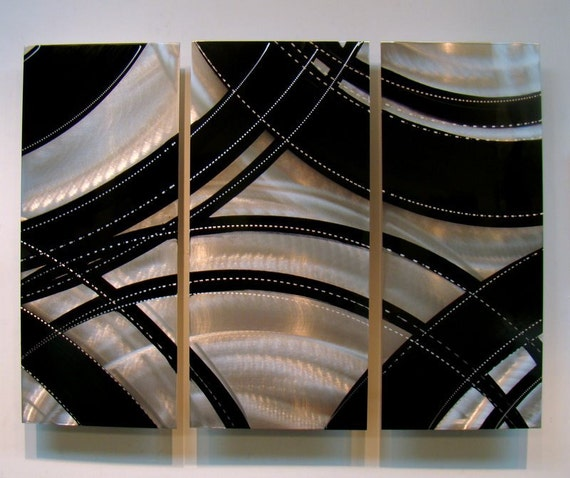 Modern Metal Wall Art - Black & Silver Abstract Metallic Accent - Handmade Metal Wall Sculpture - Home Decor - Crossroads 2 by Jon Allen