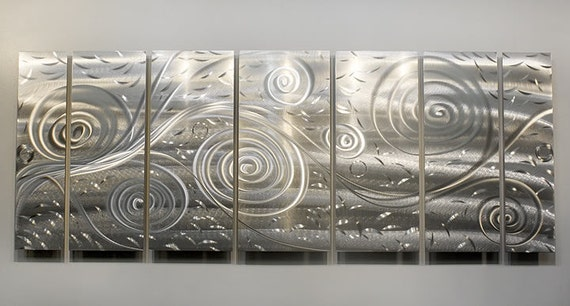 Natural Silver Contemporary Metal Wall Sculpture - Large Modern Painting - Etched Designs Wall Hanging - Freedom Fills the Air by Jon Allen