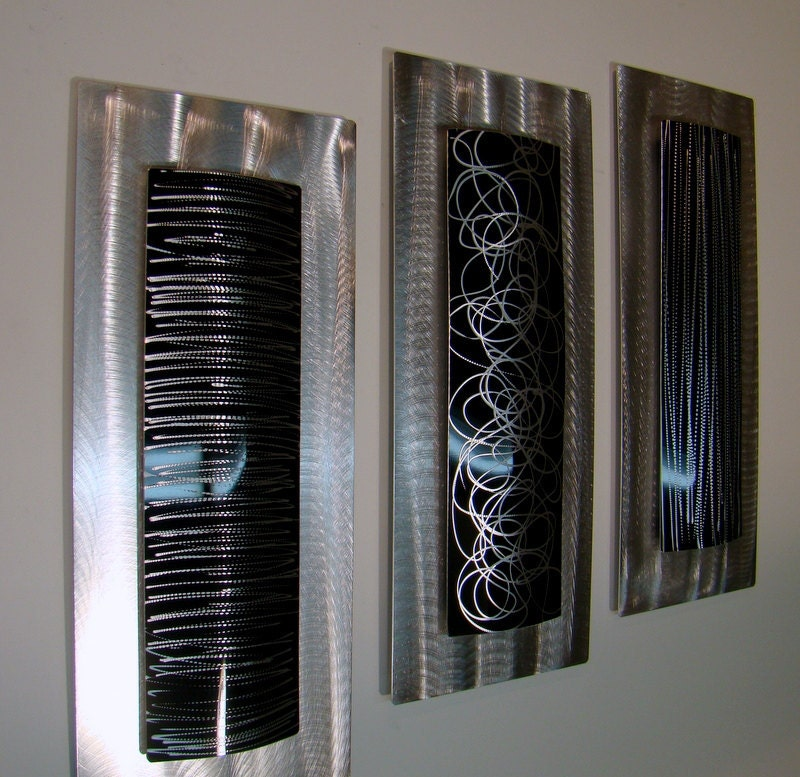 silver black modern metal wall accent by jonallenmetalart
