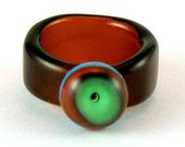 Size 5 3\/4 - Wide Brown Band Rainbow Lampwork Glass Ring