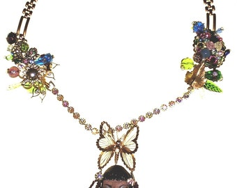 Steam Punk - Madam Butterfly Necklace - Vintage OOAK - FREE SHIPPING