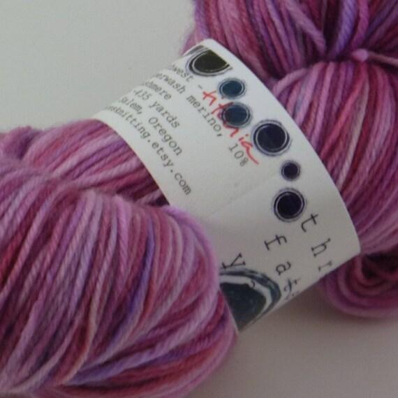 titania - north by northwest (pink super wash merino cashmere nylon MCN fingering weight sock yarn)