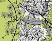 Modern Flower Print, Flora (Olive) - Print 8x10