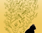 Cat Art Print, Meditation - Print 5x7