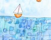Sailboat Art Print - 8x10