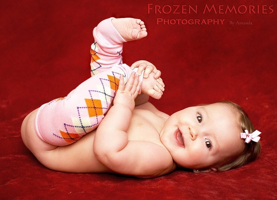 Knotty Legs -- Leg Warmers for baby or toddler -- peachy pink argyle