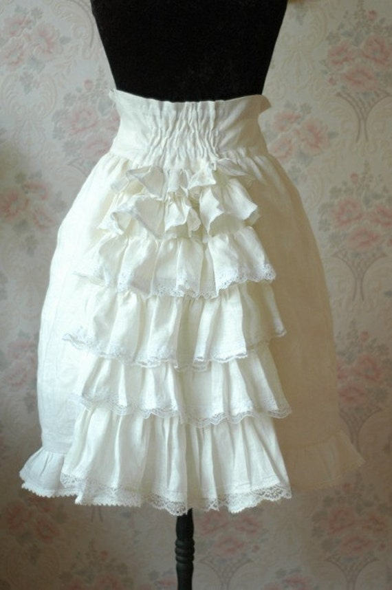 Cream high waist knee length bell skirt with bustle back