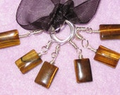 6 Tigers Eye Pillow stitch markers