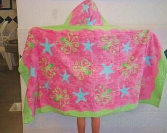 Hooded Towel for kids/Beach/Bath/Swim/Octopus and Starfish/gift