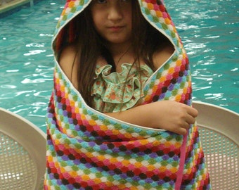 Hooded Towel for Kids/Hexagon/ Thick Bath Towel/After Bath/Swim/Beach/Gift