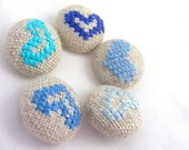 Blue Hearts - Hand Embroidered Buttons