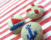 Nautical - Embroidered Fabric Covered Buttons