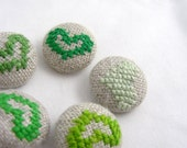 Green Hearts - Hand Embroidered Buttons