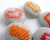 Orange Hearts - Hand Embroidered Buttons