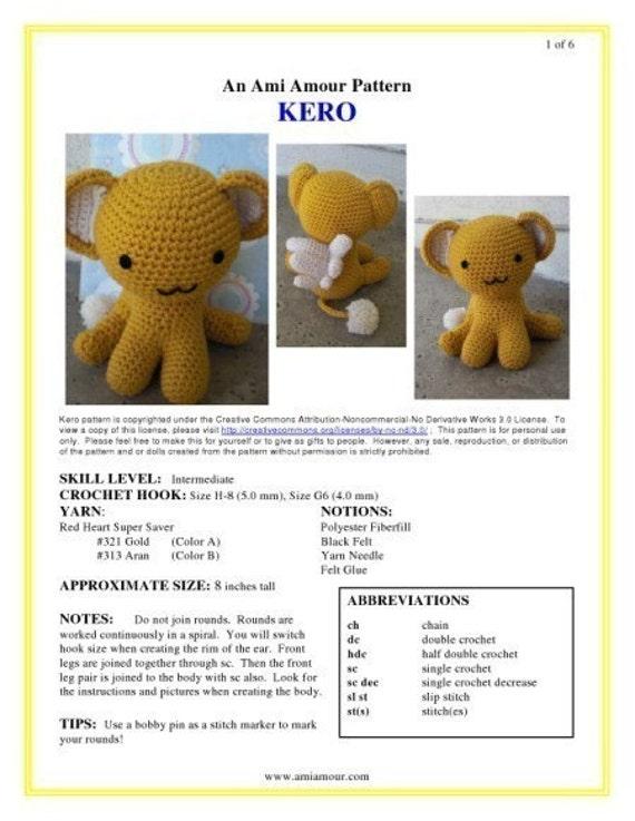 Kero patron ganchillo amigurumi Anime Card Captor por amiamour