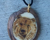 pyroengraved tagua nut, grizzlybear necklace