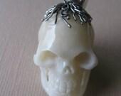 MS Carved Cow Bone Skull 3-D 1-1/4 inch Sterling Silver Cap Bail Bali Fair Trade