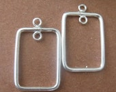 MS Chandelier Earring Parts 2 pcs 1 pair Rectangle Inside Loop Bali Sterling Silver Fair Trade