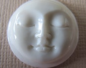 MS Moon Face Carved Bone with Rim 19mm 0.75 inches Closed Eyes Bali Fair Trade