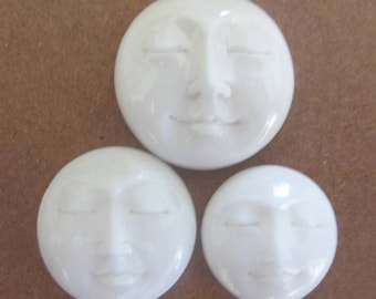 MS Carved Face Moon 14mm Bone (2) Closed Eyes Bali Fair Trade