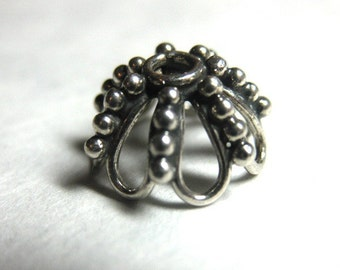 MS 10mm Wire Loop Dome Cap with Dots Granulation (4) Bali Sterling Silver Fair Trade
