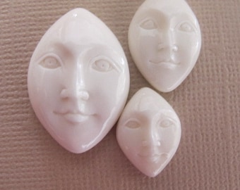 MS Marquise Shaped Carved Bone Face Open Eyes 20mm x 13mm Bali Fair Trade