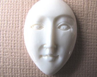 MS Sale Oval Face Open Eyes Carved Cow Bone 25 x 20mm  Bali Fair Trade