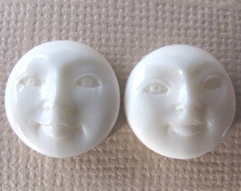 MS 14mm Round Moon Faces (2) Open Eyes Carved Cow Bone Bali Fair Trade