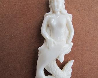 MS Mermaid with Dolphin Cabochon Cab Bone Carved  Bali Fair Trade