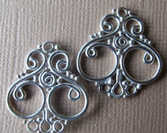 Chandelier Earring Parts Wire Granulation One Pair Two Pieces Bali Sterling Silver Fair Trade