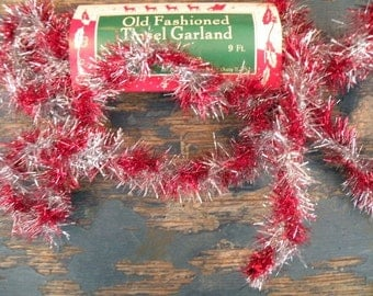 Vintage Style Christmas Red and Silver Wire Twist Tinsel Garland-SPPO Red/Silver Twist