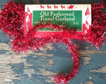 Vintage Style Red Tinsel Garland-SPPO Christmas Red Tinsel