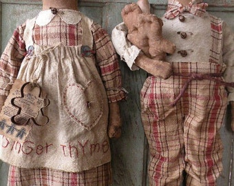 Primitive Gingerbread Doll Pattern-SPPO Prim Gingers-Christmas Dolls