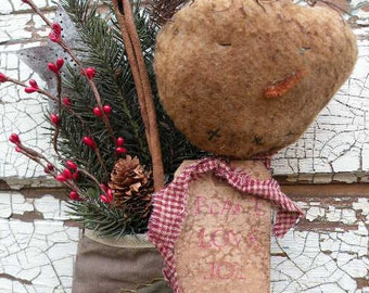 Primitive Crazy Quilt Christmas Stocking Tucked with a Snowman Stick and Faux Winter Greens-Winter Christmas Decor