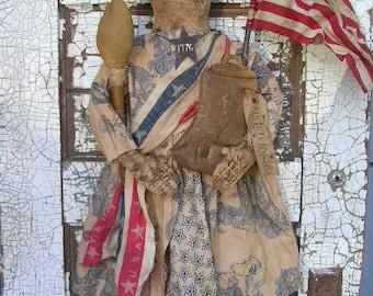 MADE TO ORDER Primitive Folkart Americana Raggedy Annie Liberty Doll-Libby Ann