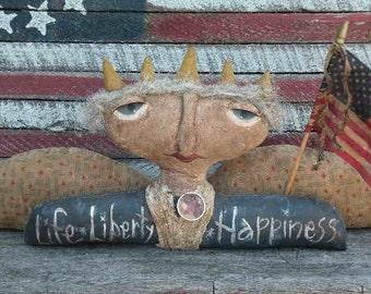 Primitive Folkart Americana Liberty Doll Shelf Sitter Pattern-SPPO Life,Liberty,Happiness
