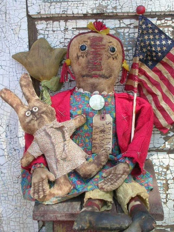 Primitive Raggedy Ann Doll with Bunny Doll & Tulip Flower Pattern-SPPO Spring Thyme Annie