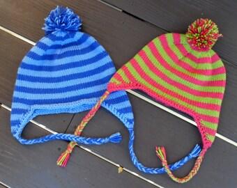 Striped Earflap Hat - PDF Knitting Pattern