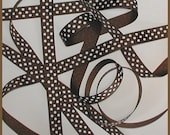 Brown White Ribbon Grosgrain Polka Dot Dots 5 yards 5/8 inch wide cbfiveeight
