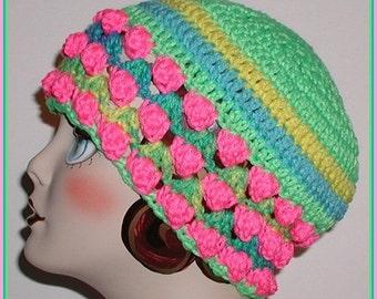 Lime Hat Cloche Crochet Pink Aqua Yellow Blue Green Adult Teen
