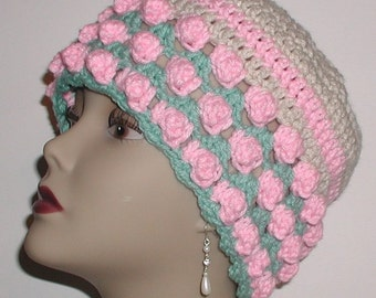 Cream Hat Pink Green Flapper Cloche Crochet Adult Women